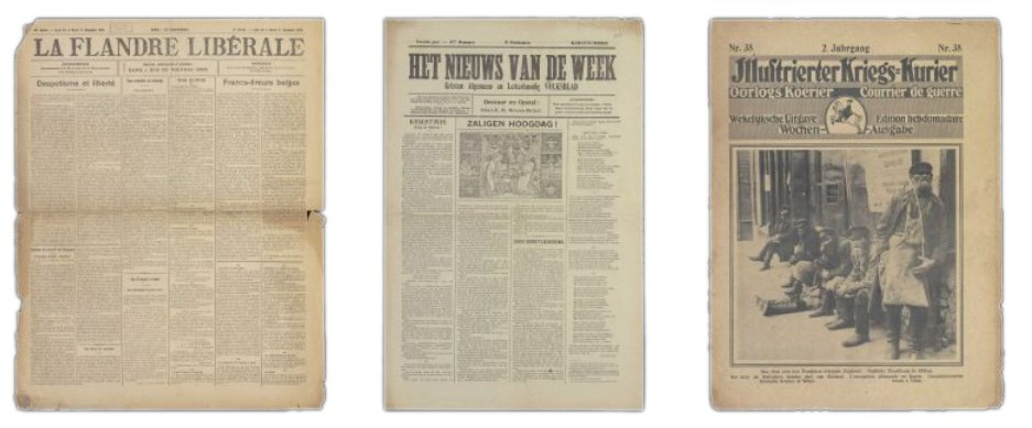 Samples of Newspaper Frontpages from World War I